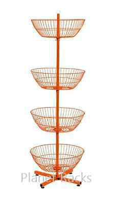 Planet Racks - Custom 4 Basket Revolving Floor Dump Bin Display - Orange
