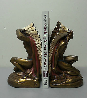 """Great Pair American """"armor Bronze"""" New York """"indian Chief"""" Figural Bookends"""
