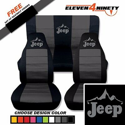 1997-2002 Jeep Wrangler Black Charcoal Seat Covers / Jeep Mountain Scape Design