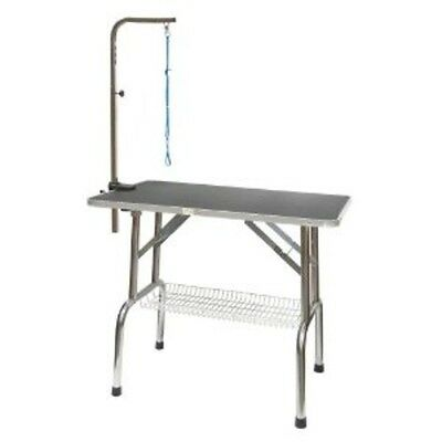 Go Pet Club Heavy Duty Stainless Steel Pet Dog Grooming Table w/Arm, 30-Inch NEW