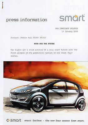 Smart ForFour 'Sneak Preview' Press Release/Photograph - 2003