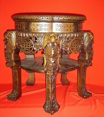 Antique Chinese Qyng Carved Rosewood Side Table With Good Luck Longevity Symbols