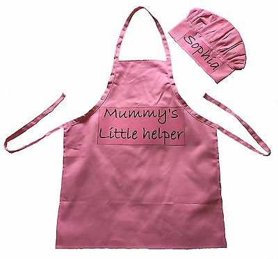 Children's  PERSONALISED Hat & Apron Set,  Little Kids Fun dress up Chef Cooking