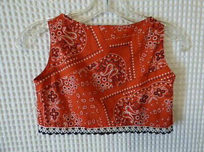 60s-70s Girls red bandanna print cotton Summer top 28 breast