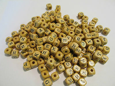 300 WOOD Wooden ALPHABET ABC BEADS craft supplies FREE SHIP