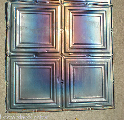 4 Iridescent Antique Carnival Ceiling Tin Tiles Simple Elegant Frame Canvas Chic