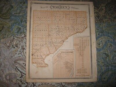 Antique Warren County Indiana Map Williamsport West Lebanon Fowler Stockwell Nr