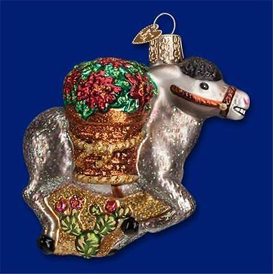 Pedro The Donkey W/ Poinsettias Old World Christmas Glass Ornament Nwt 12425