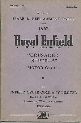 "Royal Enfield Crusader Super ""5"" Motor Cycle  Spare & Replacement Parts Booklet."