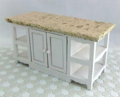 Dolls House Miniature Kitchen Furniture White with Marble Top Island Unit