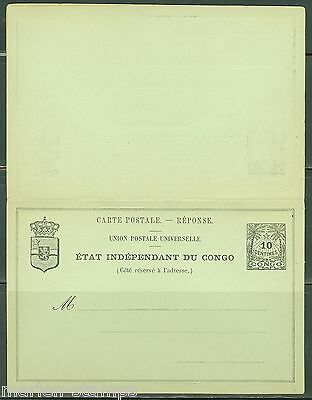 Belgian Congo Mint Postal Stationery Double Card With Response Card As Shown