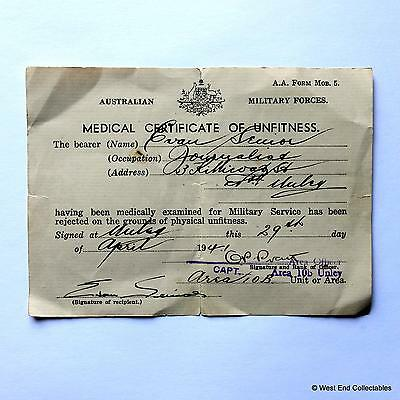 1941 WW2 Australian Army Military Certificate of Unfitness - ANZAC, Unley