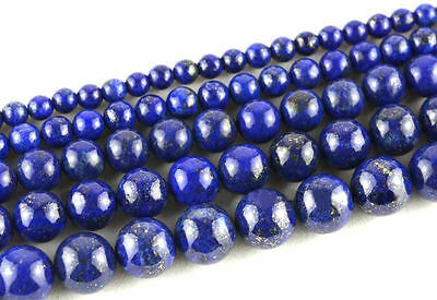 Natural Lapis Lazuli Round Loose Spacer Stone Beads 4/6/8/10/12mm Europ Jewelry