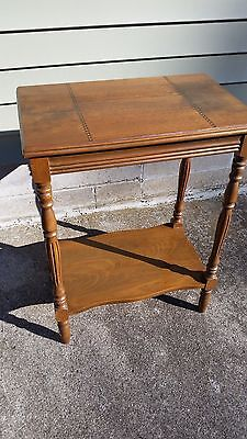 Art Deco Waterfall Style Night or End Table Original Finish 1930s 1940s Enlay