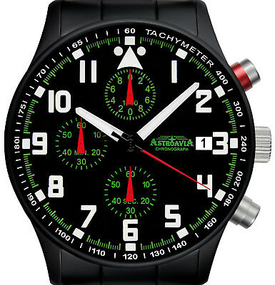 ASTROAVIA AIR CRAFT 14E BLACK EDITION 6 ZEIGER CHRONOGRAPH 40 mm FLIEGERUHR