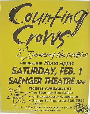 "Counting Crows 1997 ""recovering The Satellites Tour"" Pensacola Concert Poster"