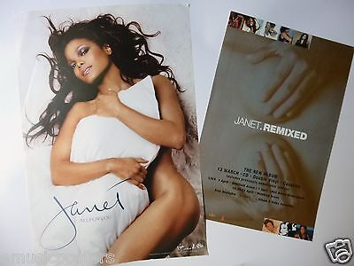 """Janet Jackson 2 Posters: U.s. Promo For """"all For You"""" & U.k. """"janet.remixed"""""""