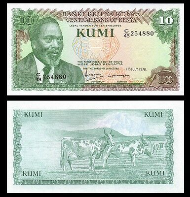 Kenya 10 Shillings 1978 Unc 5 Pcs Consecutive Lot P.16