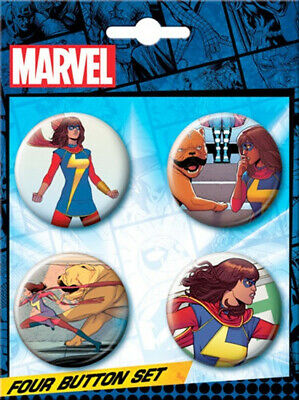 Marvel Comics Ms. Marvel Carded Set of 4 Round Comic Art Buttons NEW UNUSED