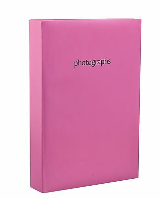 "Hot Pink Large Photo Album Holds 300 Photos 4'' x 6""  Slip In Memo Album SM3PK"