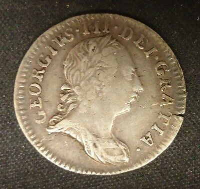 Pre-American Revolution - 1762 Great Britain 3 Pence Silver Coin - George III