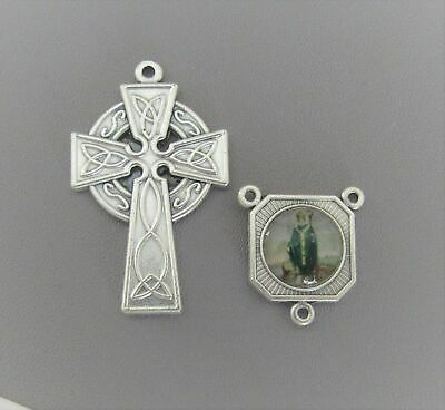 Rosary CENTER & CRUCIFIX Italy St Saint Patrick Celtic Cross Set B finish SILVER