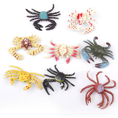 8 Assorted Plastic Crab Figures Ocean Beach Life Party Bag Fillers Kids Toy