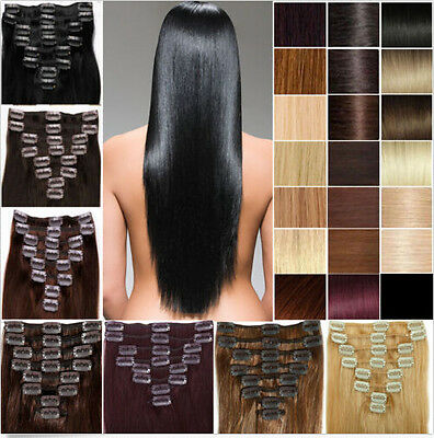 "16""-24""Clip In 100% Remy Full Head Hair Extensions Human Hair Extensions 40-110g"