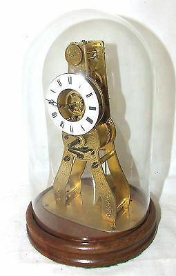 Antique MONTH Going Skeleton Bracket / Mantel Clock with Glass Dome : Working