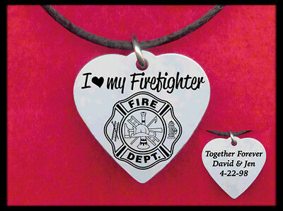I Love my FIREFIGHTER Heart Necklace, Personalized on back 4 FREE w' his name
