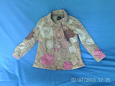 Girls 10-11 Years - Beige with Pink Floral Cord Jacket - Gap