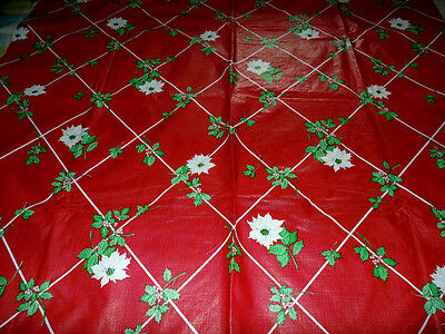 Vintage Christmas Flannel Back Vinyl Tablecloth Red & White Poinsettia 88 x 52