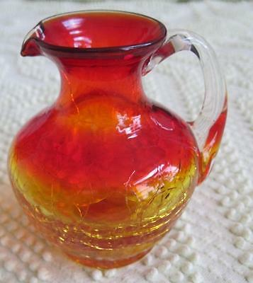 "Ruby Amberina Crackle Glass 3.5"" Pitcher"