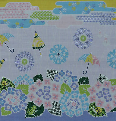 Furoshiki Wrapping Cloth Japanese Fabric 'Hydrangea and Umbrellas' Cotton 50cm