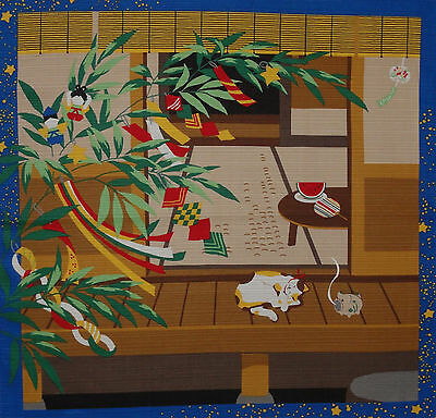 Furoshiki Japanese Fabric Cloth Kotaro the Cat w/ Tanabata Branches Cotton 50cm