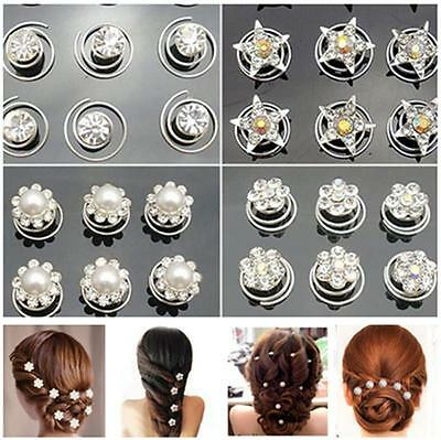 12pcs Bridal Crystal Pearl Flower Spiral Twist Hair Pins Clips Wedding Jewelry