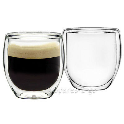 Double Walled Thermal Shot Coffee Glass Tumblers Espresso Glasses Cups 230ml x 2