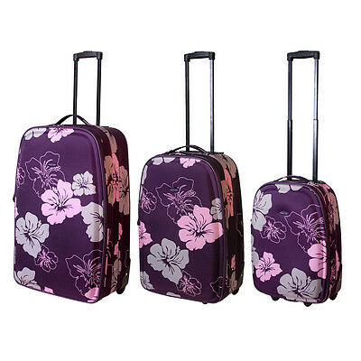 3 Teiliges Kofferset Trolley Reise Edles Lila Blumenmuster Koffer Nylon Color3