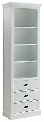 Bailey off white painted office furniture large bookcase with drawer