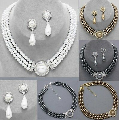 Teardrop Earrings Bead Pearl Bib Crystal Layered Strand Necklace Bridal Wedding