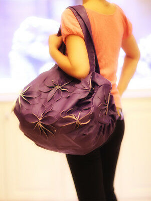 Ladies Hand Bag Tote Flower - Handmade Shoulder Fashion Pu Leather Bag - Purple