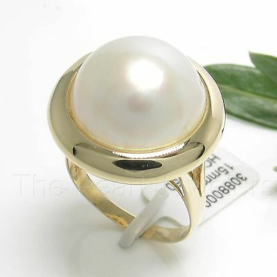 14k Solid Yellow Gold 15mm Natural White Mabe Pearl Solitaire Ring