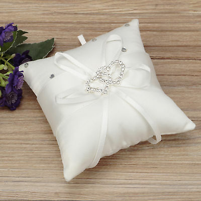 Beauty Ring Bearer Pillow Cushions Wedding Party Crystal Rhinestone Double Heart