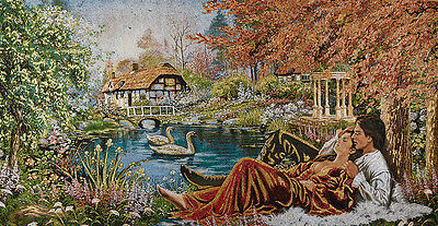 "46"" Top Quality Wall Art Needlepoint Woven Painting Tapestry: Cottage Lover Lake"