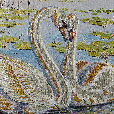"""46"""" Wall Decor Needlepoint Woven Painting Tapestry: Swan Lovers Wedding Gift"""