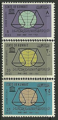 KUWAIT. 1963. Human Rights Year Set. SG: 213/15. Mint Never Hinged.