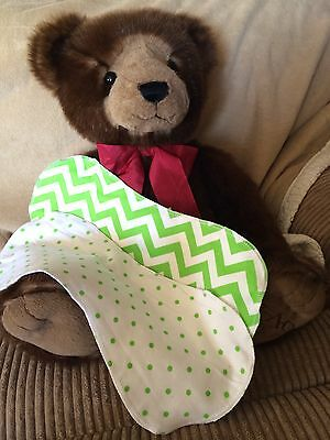 Baby Burp Cloths Green And White Dots And Chevrons Cotton Flannel Handmade