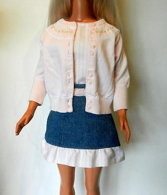 My Size Barbie 3-Piece Set: Pink & White Blouse, Denim Skirt, and Pink Sweater