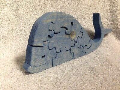 Wooden Whale Scroll Saw Puzzle - Handmade - 9 Pieces - Stained Blue