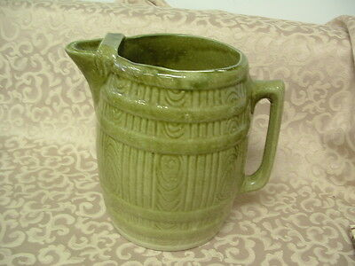 Vintage Salt Glaze Yellow ware Green BARRELL Pitcher with ICE LIP Hard to Find